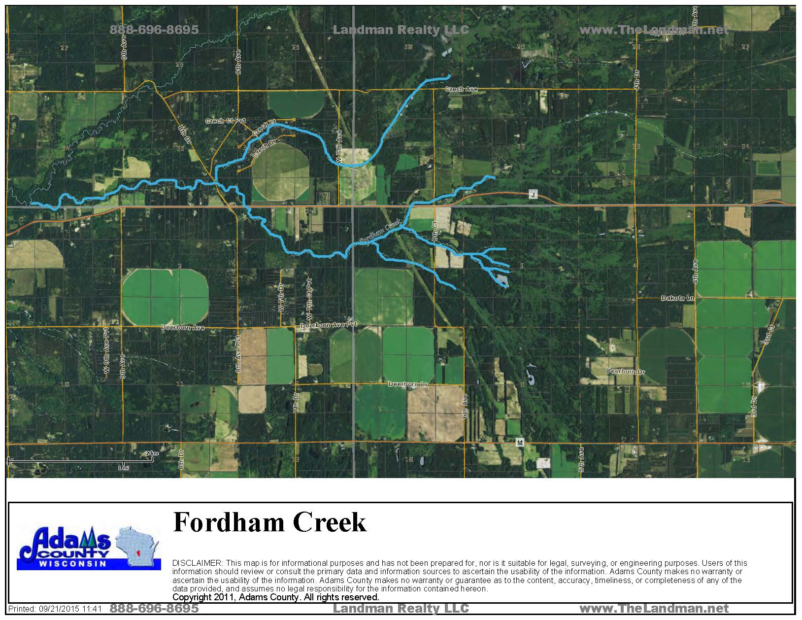 Fordham Creek WI Map