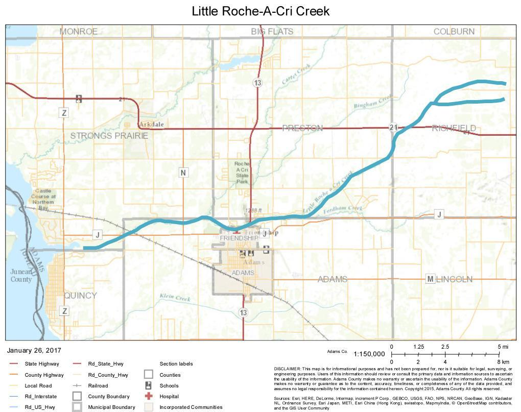 Little Roche A Cri Creek Map