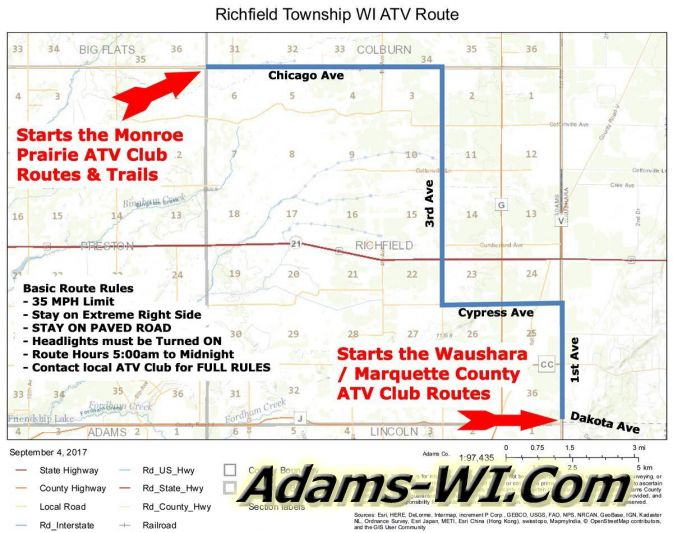 Richfield Township WI ATV Route
